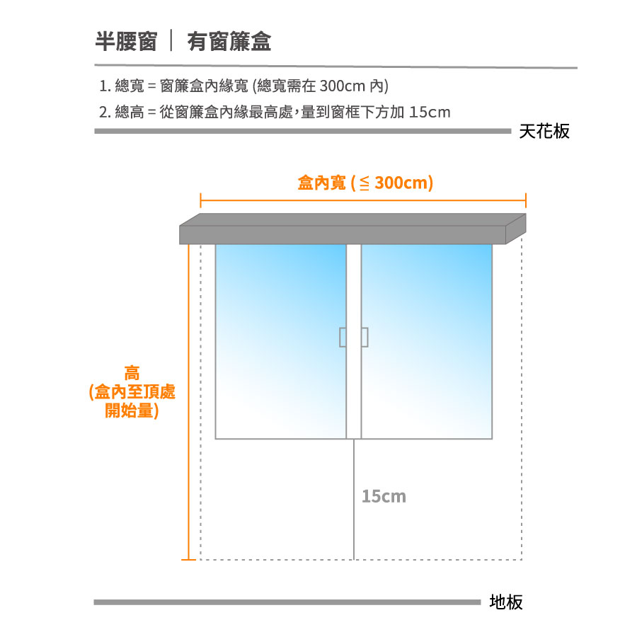 智慧窗簾半腰窗含窗簾盒測量方式